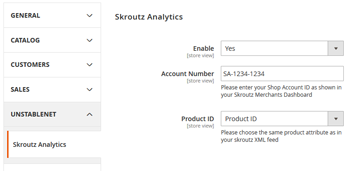 Skroutz Magento Settings